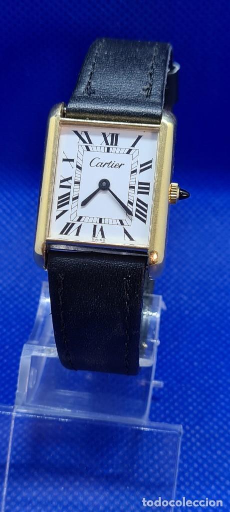 RELOJ DE SEÑORA (VINTAGE) CARTIER CUERDA, 18K, ELECTROPLATED RELOJ SUIZO,ESFERA BLANCA, CORREA CUERO (Relojes - Relojes Actuales - Cartier)