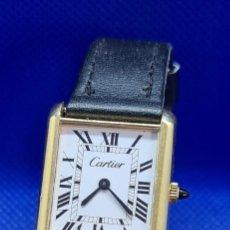 Relógios - Cartier: RELOJ DE SEÑORA (VINTAGE) CARTIER CUERDA, 18K, ELECTROPLATED RELOJ SUIZO,ESFERA BLANCA, CORREA CUERO. Lote 248708230
