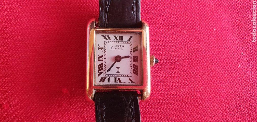 RELOJ MUST DE CARTIER DE CUERDA BAÑADO EN ORO 18 K NO FUNIONA .MIDE 22 MM DIÁMETRO (Relojes - Relojes Actuales - Cartier)