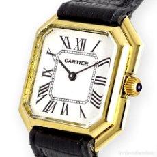 Relojes - Cartier: RELOJ CARTIER DE ORO DE LEY DE MUJER Y PULSERA DE CUERO NEGRO. Lote 285114058