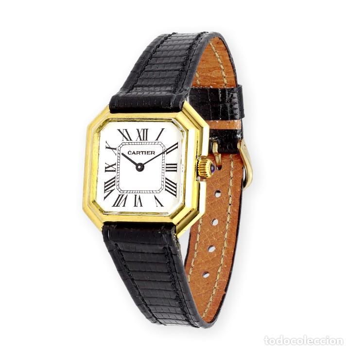 Relojes - Cartier: Reloj Cartier de Oro de Ley de Mujer y Pulsera de Cuero Negro - Foto 2 - 285114058