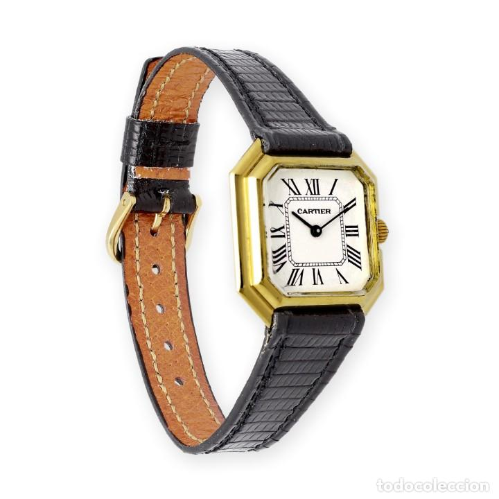 Relojes - Cartier: Reloj Cartier de Oro de Ley de Mujer y Pulsera de Cuero Negro - Foto 5 - 285114058