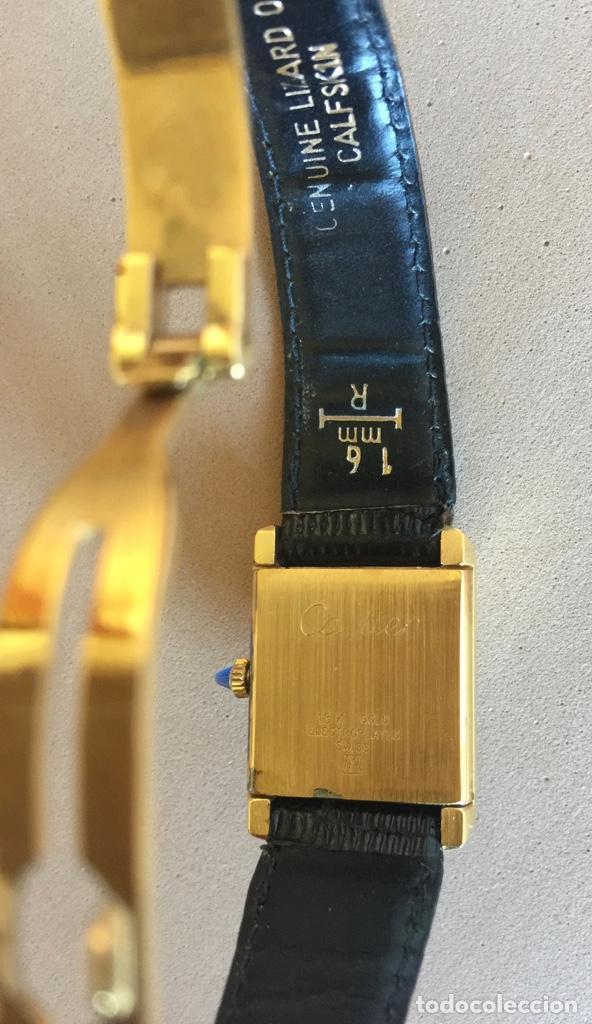 Relojes - Cartier: CARTIER RELOJ DE PULSERA ORO CHAPADO CON 2 CORREAS DE PIEL DE LAGARTO Y CORONA ZAFIRO - Foto 4 - 285317753