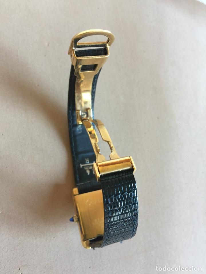 Relojes - Cartier: CARTIER RELOJ DE PULSERA ORO CHAPADO CON 2 CORREAS DE PIEL DE LAGARTO Y CORONA ZAFIRO - Foto 7 - 285317753