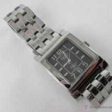 Relojes - Casio: NT-RELOJ-CASIO QUARTZ-ACERO-ESFERA NEGRA-RECTANGULAR-CABALLERO-43X35 MM-JAPAN M-BUEN ESTADO-.. Lote 44709551