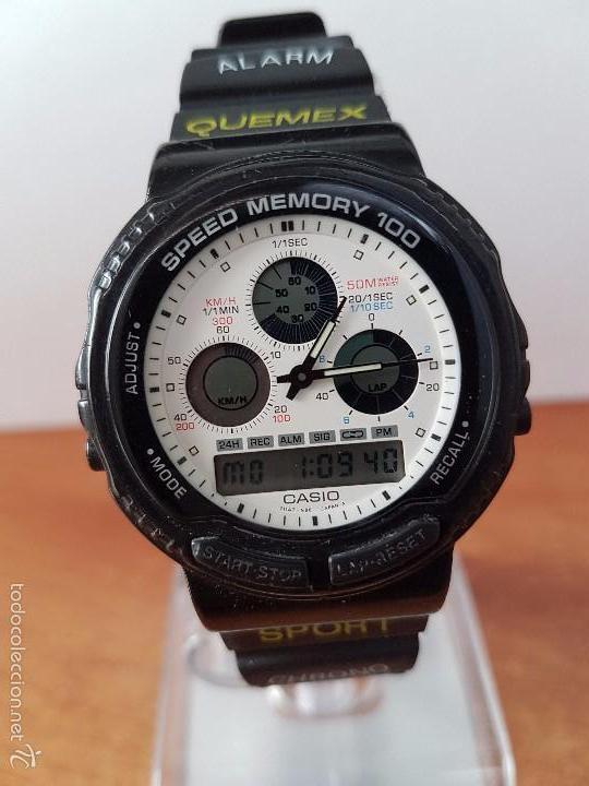 1b63e619899b Reloj de caballero (Vintage) Casio modulo 384 - AW 20 con correa de goma  negra funcionando