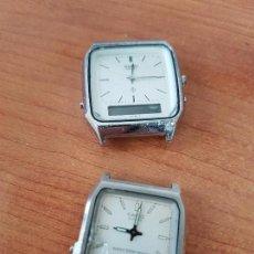 Relojes - Casio: DOS RELOJES DE CABALLERO (VINTAGE) CASIO ANALÓGICO Y DIGITAL PARA REPUESTOS O REPARAR. Lote 62141392