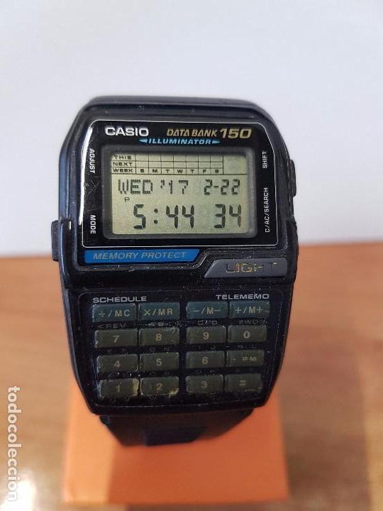 RELOJ CABALLERO VINTAGE CASIO DATA BANK DBC - 150 MÓDULO 1477 CON CORREA CASIO ORIGINAL PARA SU USO (Relojes - Relojes Actuales - Casio)