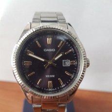 Relojes - Casio: RELOJ DE SEÑORA CASIO CUARZO CALENDARIO A LAS TRES HORAS DE ACERO CON CORREA ORIGINAL ACERO CASIO . Lote 83640224