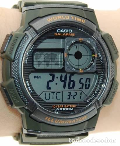 227d9e1d9fed 9 fotos RELOJ CASIO GREEN MILITARY AVIATOR WATCH TRAVELER WORLD TIME VERDE  MILITAR NUEVA TEMPORADA (Relojes ...