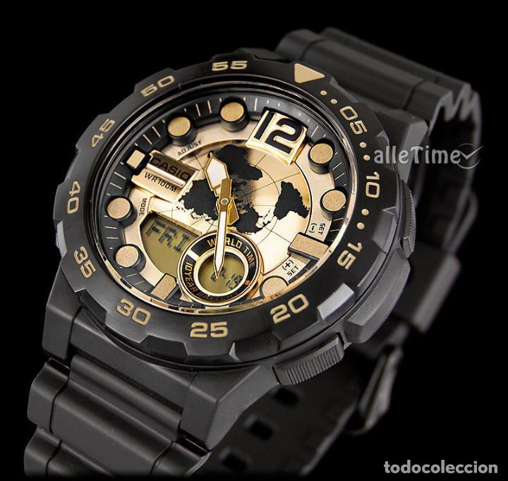 Casio World Map Watch.Reloj Casio Watch Gold Black World Map Gold F Sold Through