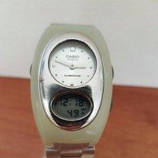 Relojes - Casio: RELOJ DE SEÑORA (VINTAGE) CASIO ANALOGICO Y DIGITAL CON CORREA DE ACERO ORIGINAL CASIO SHEEN. Lote 85547484
