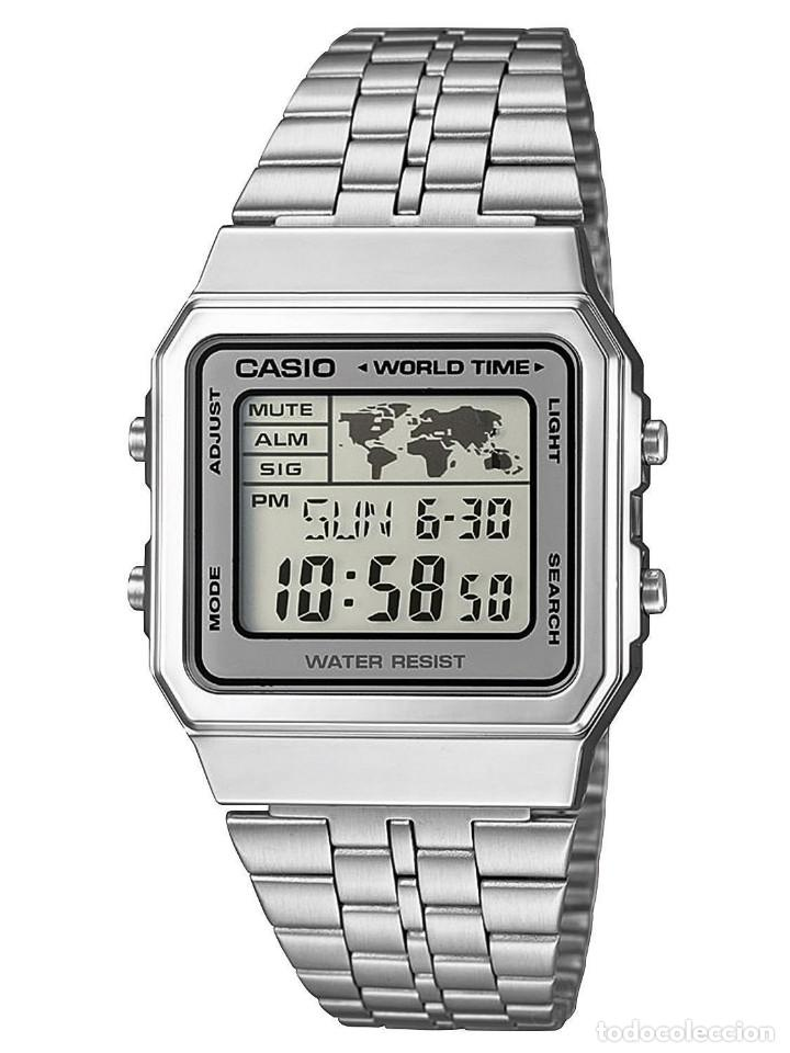 99ba939ba6fd RELOJ CASIO RETRO SILVER WORLD TIME MAP DIGITAL STEEL WATCH WHITE VERSION  ACERO ESTILO VINTAGE NUEVO ...