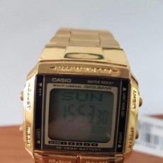 Relojes - Casio: RELOJ DE CABALLERO RETRO CASIO DATA BANK CHAPADO DE ORO CUADRADO CON CORREA ORIGINAL CASIO DE STOCK. Lote 86150748
