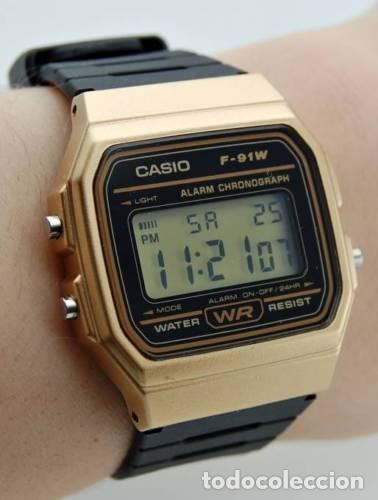 7222bcfc3314 10 fotos RELOJ CASIO RETRO F-91 NEW EDITION COLORS GOLD BLACK WATCH  OROLOGIO MONTRE ORIGINAL NUEVO!