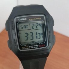 Relojes - Casio: RELOJ CABALLERO CASIO DIGITAL CAJA DE RESINA, CORREA NEGRA DE GOMA, 5 ALARMAS, 10 AÑOS BATERIA. Lote 113995143