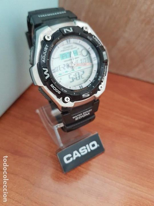 Relojes - Casio: Reloj caballero antiguo Casio analógico y digital, cronometro, termómetro, alarma, correa de resina - Foto 3 - 117381575