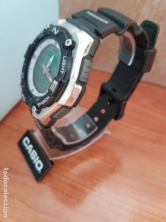 Relojes - Casio: Reloj caballero antiguo Casio analógico y digital, cronometro, termómetro, alarma, correa de resina - Foto 4 - 117381575