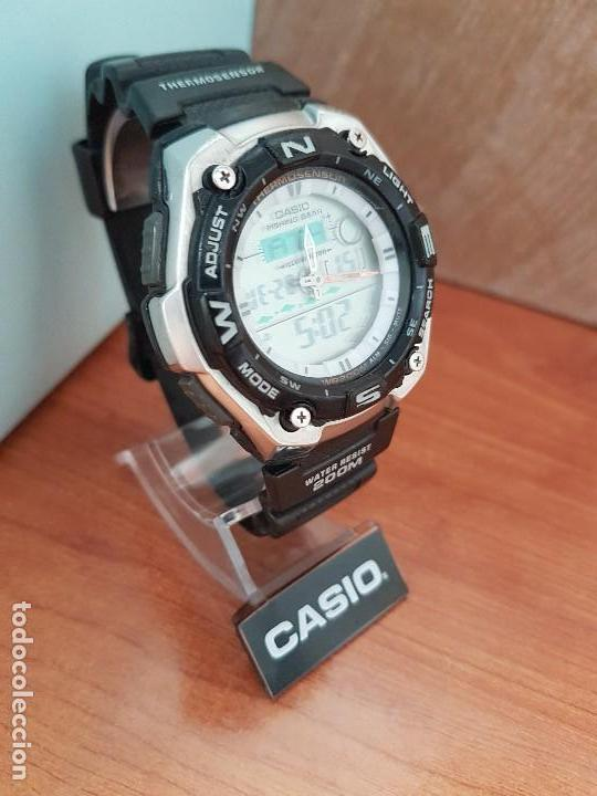 Relojes - Casio: Reloj caballero antiguo Casio analógico y digital, cronometro, termómetro, alarma, correa de resina - Foto 5 - 117381575