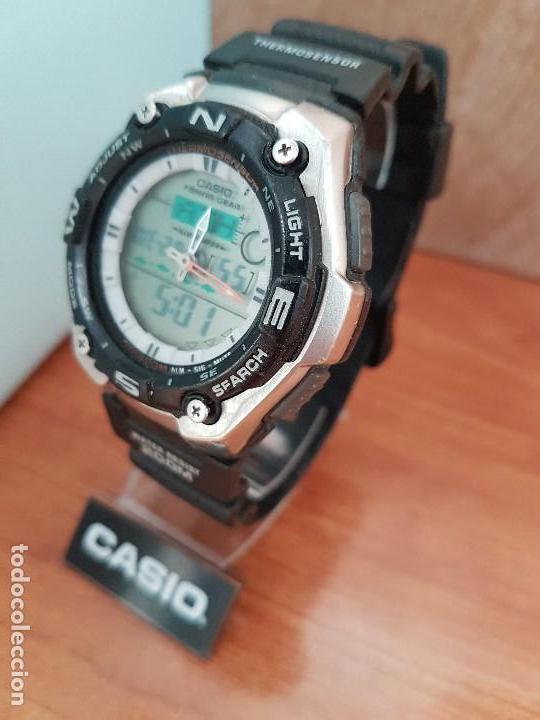 Relojes - Casio: Reloj caballero antiguo Casio analógico y digital, cronometro, termómetro, alarma, correa de resina - Foto 10 - 117381575