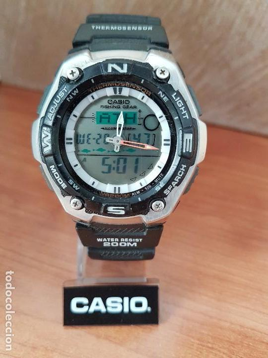 Relojes - Casio: Reloj caballero antiguo Casio analógico y digital, cronometro, termómetro, alarma, correa de resina - Foto 17 - 117381575