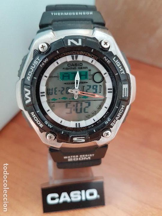 Relojes - Casio: Reloj caballero antiguo Casio analógico y digital, cronometro, termómetro, alarma, correa de resina - Foto 18 - 117381575