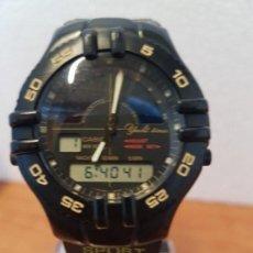 Relojes - Casio: RELOJ CABALLERO VINTAGE CASIO ANALÓGICO DIGITAL CAJA SILICONA TAPA DE ACERO, CORREA SILICONA NUEVA . Lote 130064671