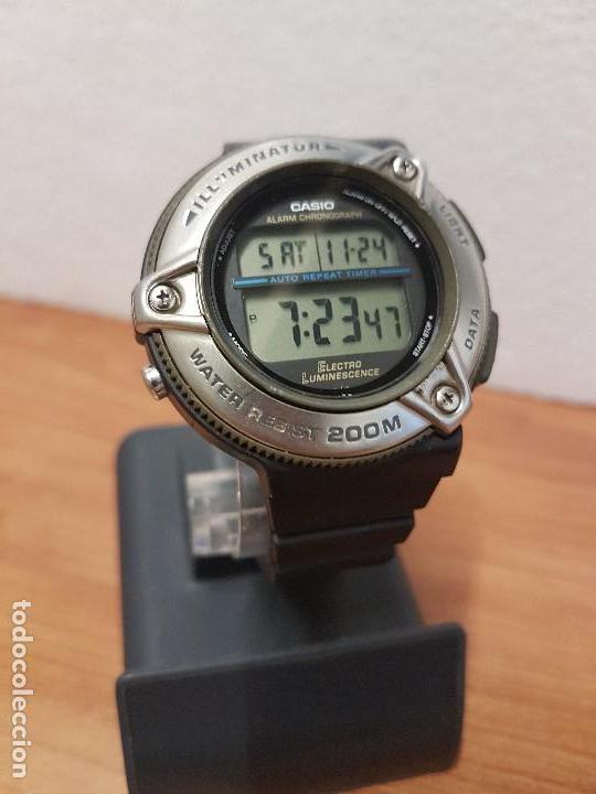 Relojes - Casio: Reloj caballero Vintage CASIO modulo 1874. DW-295 iluminator con correa silicona negra nueva sin uso - Foto 3 - 141499682