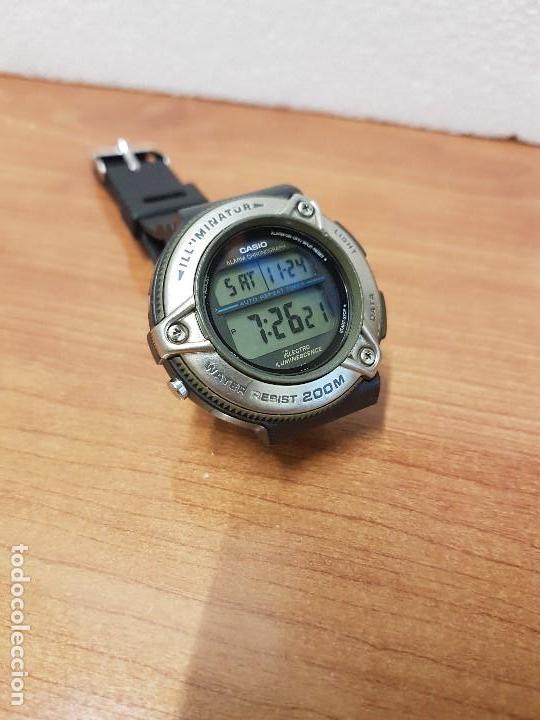 Relojes - Casio: Reloj caballero Vintage CASIO modulo 1874. DW-295 iluminator con correa silicona negra nueva sin uso - Foto 11 - 141499682