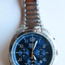 Relojes - Casio: RELOJ CRONÓGRAFO MOVIMIENTO DE CUARZO CASIO MODELO EDIFICE, CON ESFERA AZUL Y ARMIS DE ACERO.. Lote 151094038
