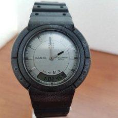 Relojes - Casio: RELOJ CABALLERO CASIO ANALÓGICO Y DIGITAL DE CUARZO DE SILICONA CON TAPA DE ACERO, CORREA SILICONA . Lote 171107313