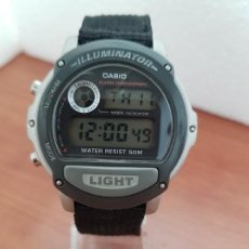 Relojes - Casio: RELOJ CABALLERO CASIO DIGITAL DE CUARZO MODELO 1536 - W - 87H, CON LUZ TAPA TORNILLOS, CORREA TELA. Lote 263123080