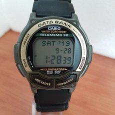 Relojes - Casio: RELOJ CABALLERO (VINTAGE) CASIO DATA BANK, TELEMEMO 30, SILICONA Y ACERO, CORREA SILICONA ORIGINAL. Lote 178302015
