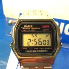 Relojes - Casio: RELOJ CASIO A 159 GOLD ¡¡¡ ESFERA AZUL !!! VINTAGE ¡¡NUEVO¡¡ (VER FOTOS). Lote 181086103