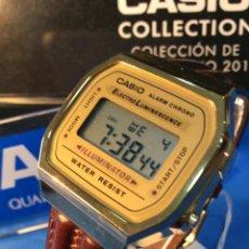 Relojes - Casio: RELOJ CASIO A 168 GOLD ( CORREA PIEL - MARRON ) ¡¡NUEVO!! (VER FOTOS). Lote 185406786