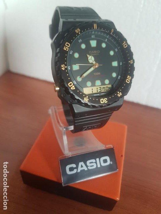Relojes - Casio: Reloj caballero (Vintage) CASIO Analógico y digital, caja resina con tapa acero, correa silicona - Foto 5 - 191289503