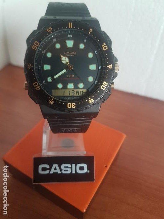 Relojes - Casio: Reloj caballero (Vintage) CASIO Analógico y digital, caja resina con tapa acero, correa silicona - Foto 11 - 191289503