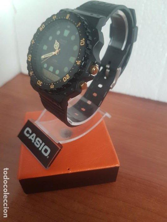 Relojes - Casio: Reloj caballero (Vintage) CASIO Analógico y digital, caja resina con tapa acero, correa silicona - Foto 12 - 191289503