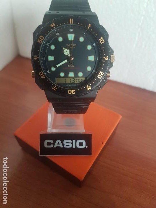 Relojes - Casio: Reloj caballero (Vintage) CASIO Analógico y digital, caja resina con tapa acero, correa silicona - Foto 15 - 191289503
