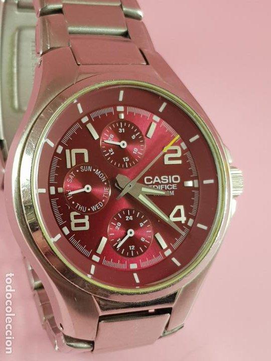 RELOJ-CASIO EDIFICE-BUEN ESTADO GENERAL-42 MM CON CORONA-EXCELENTE ESTADO-REPASADO EN JOYERÍA-CAJA (Relojes - Relojes Actuales - Casio)