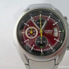 Relojes - Casio: EXCELENTE CRONOGRAFO CASIO EDIFICE ESFERA GRANATE FUNCIONANDO. Lote 212917335