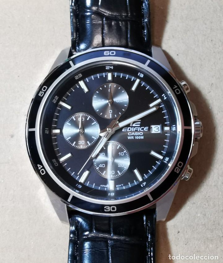 RELOJ CASIO EDIFICE INOX ACERO INOXIDABLE, 10 BAR, CORREA DE CUERO PARA HOMBRE Y MUJER. COMO NUEVO (Relojes - Relojes Actuales - Casio)