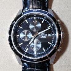Relojes - Casio: RELOJ CASIO EDIFICE INOX ACERO INOXIDABLE, 10 BAR, CORREA DE CUERO PARA HOMBRE Y MUJER. COMO NUEVO. Lote 234763025