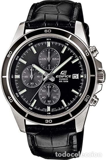 Relojes - Casio: RELOJ CASIO EDIFICE INOX ACERO INOXIDABLE, 10 BAR, CORREA DE CUERO para Hombre Y Mujer. COMO NUEVO - Foto 3 - 234763025