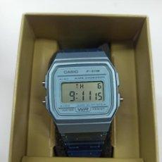 Relojes - Casio: RELOJ CASIO F-91 CELESTE NUEVA COLECCION VINTAGE. Lote 236051785