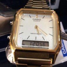 Relojes - Casio: RELOJ CASIO AQ 230 G B GOLD ¡¡ ANA-DIGI VINTAGE !! ¡¡NUEVO!! (VER FOTOS). Lote 242868715