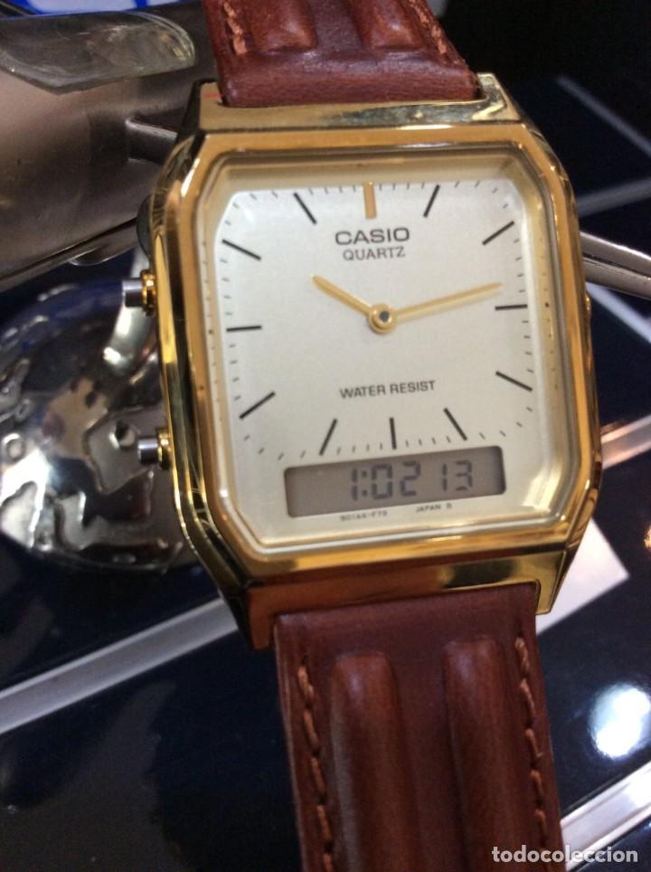 Relojes - Casio: RELOJ CASIO AQ 230 G C GOLD ¡¡ ANA-DIGI VINTAGE !! ¡¡NUEVO!! (VER FOTOS) - Foto 3 - 242869185