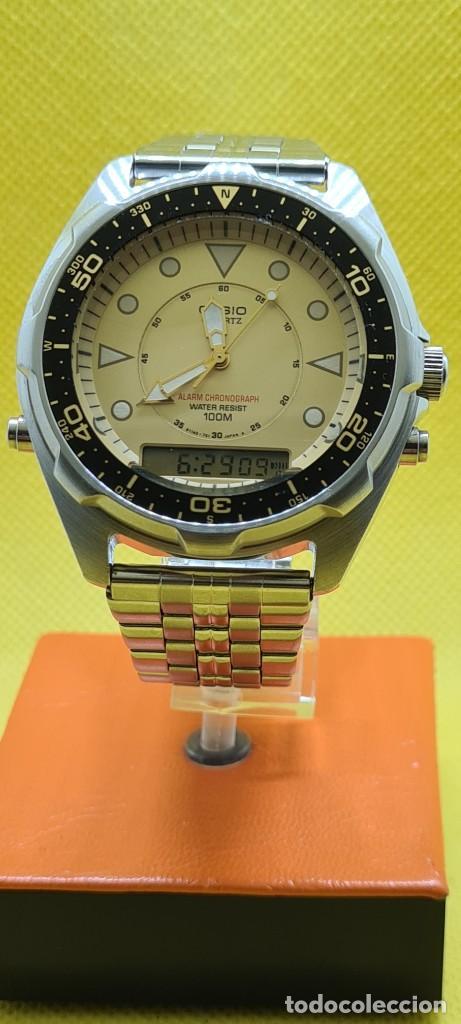 RELOJ CABALLERO (VINTAGE) CASIO ANALÓGICO Y DIGITAL CON ALARMA EN ACERO, CORREA ACERO AMW 320C - 358 (Relojes - Relojes Actuales - Casio)
