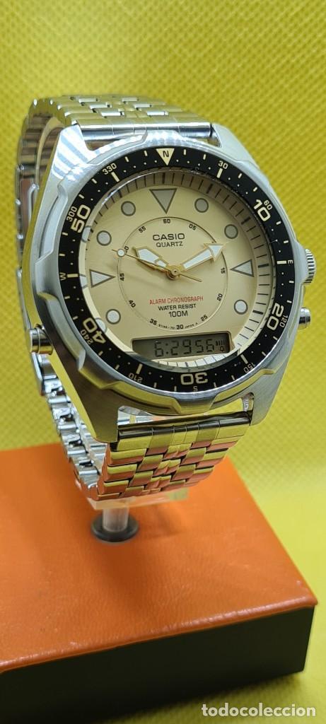 Relojes - Casio: Reloj caballero (Vintage) CASIO analógico y digital con alarma en acero, correa acero AMW 320C - 358 - Foto 2 - 248433850