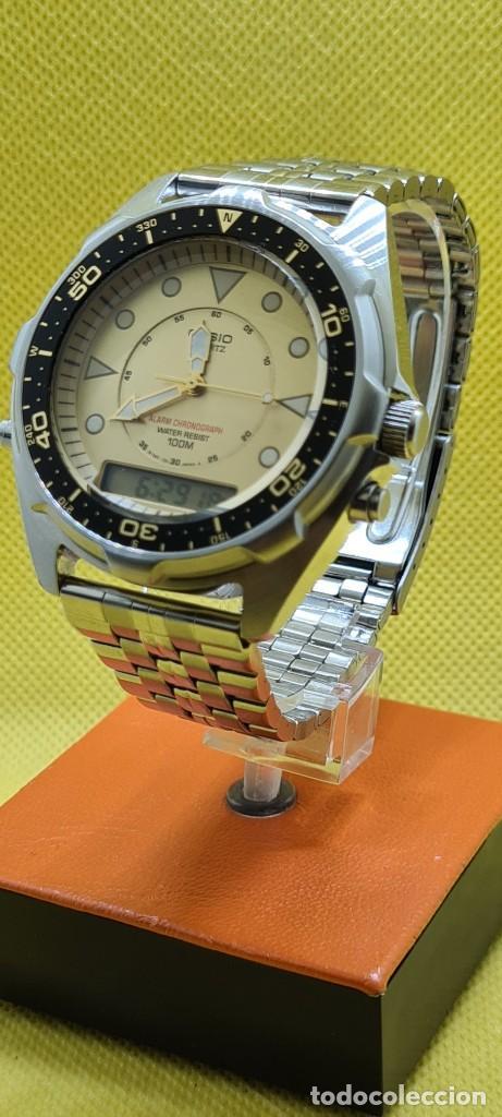 Relojes - Casio: Reloj caballero (Vintage) CASIO analógico y digital con alarma en acero, correa acero AMW 320C - 358 - Foto 3 - 248433850